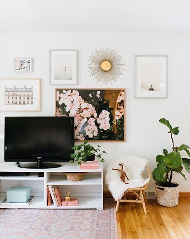 8 Creative Ways To Decorate Around Your Tv Tuft Trim In 2020 Bedroom Tv Wall Wall Decor Living Room Apartment Living Room #wall #decor #ideas #for #small #living #room