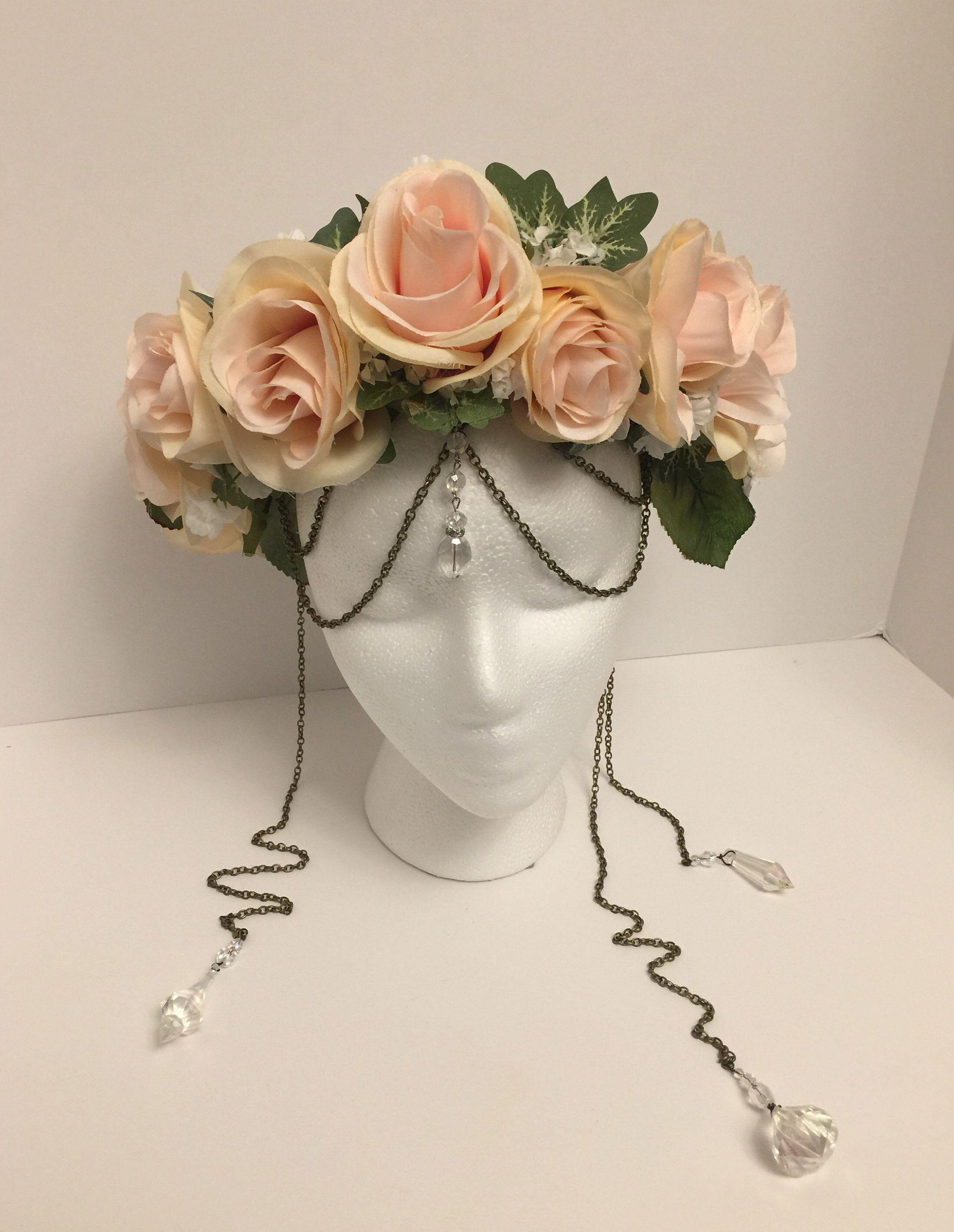 Peachy Pink Rose Flower Crown Floral Crown Flower Halo Pink Etsy Rose Flower Crown Pink Rose Flower Rose Crown