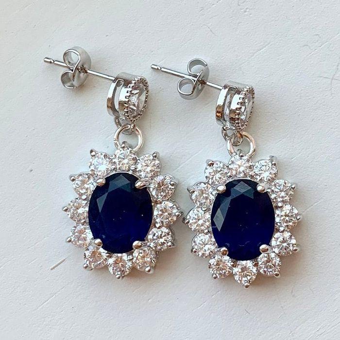 Sapphire & Diamond Oval Drop Earrings – Kate Middleton Earrings
