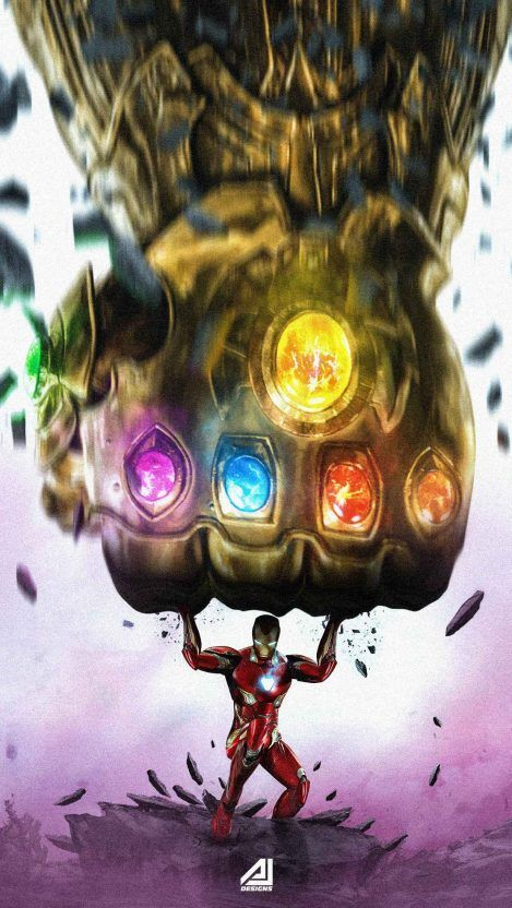 Iron Man vs Infinity Gauntlet iPhone Wallpaper