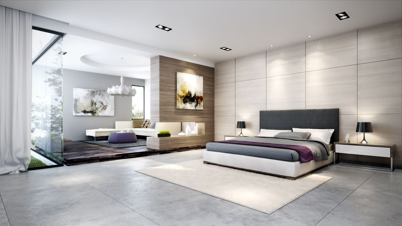 Bedroom ideas decor | Contemporary master bedroom scheme.