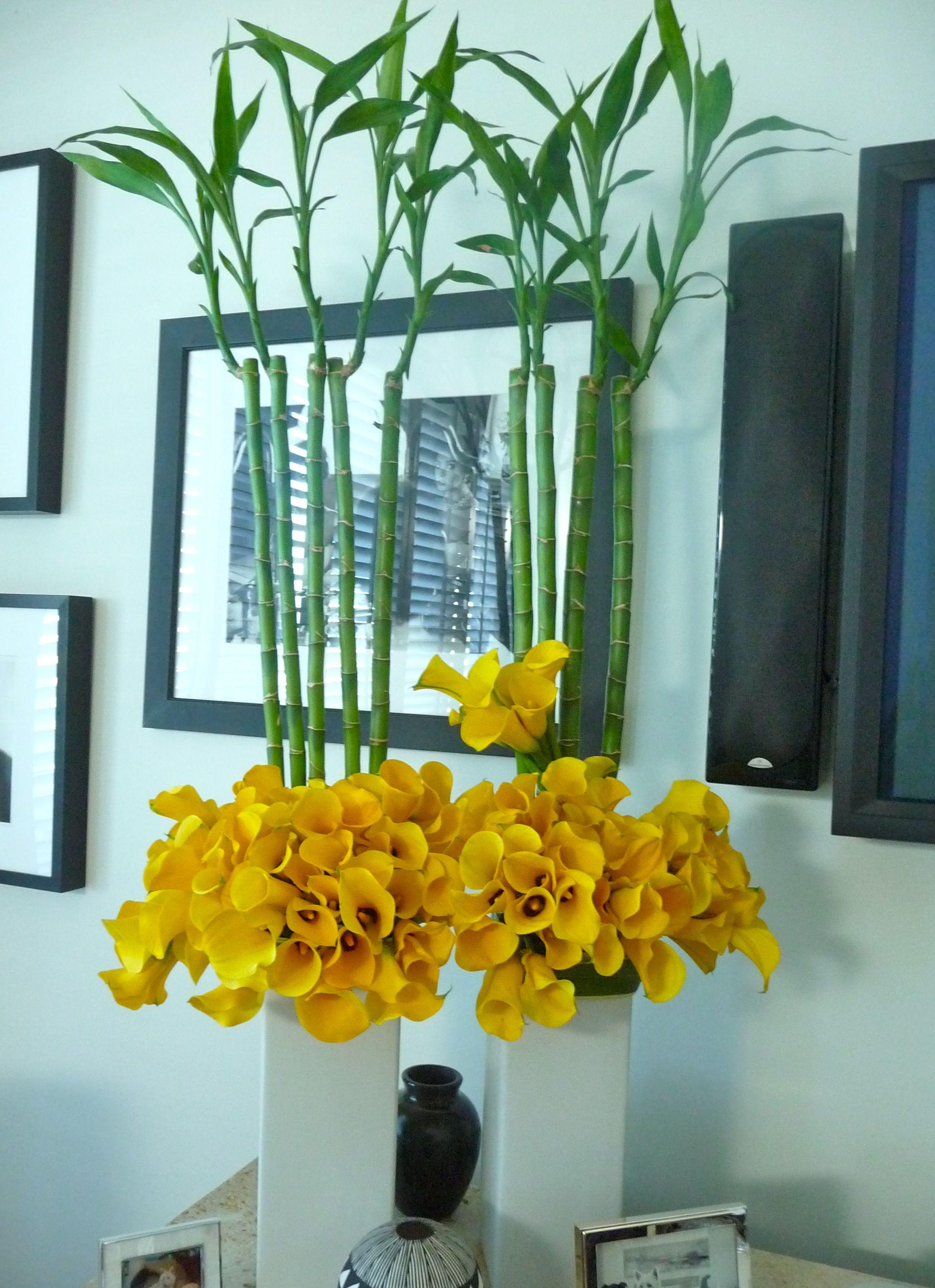 2012 color trend floral arrangement using yellow calla