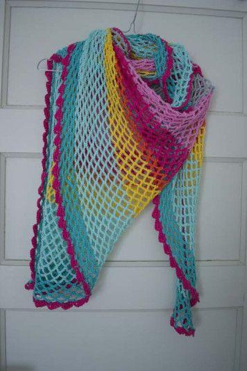 Luchtige Omslagdoek Haken Kleur Candy Addictorg Crochet And