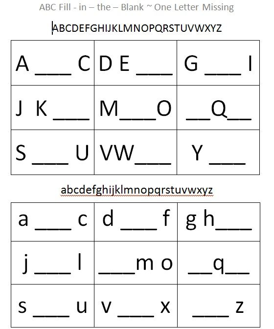 This Alphabet Fill-in-the-blank Sheet Supports Cognitive
