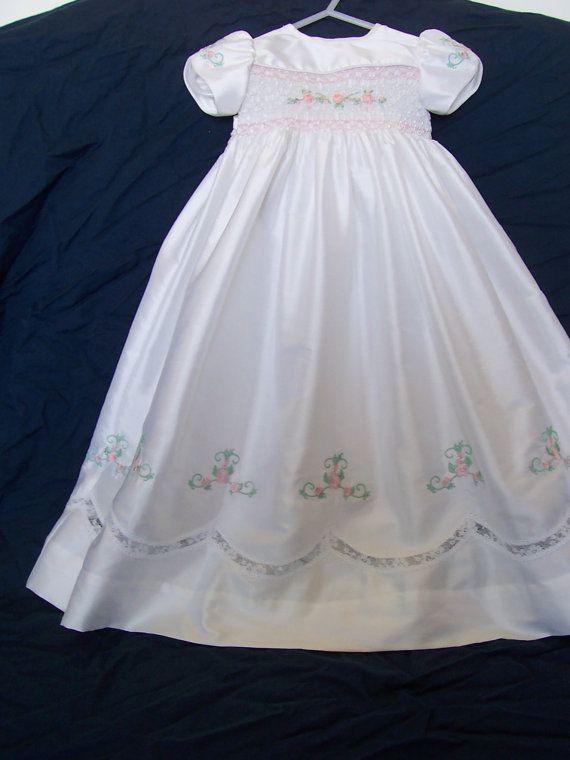Silk hand smocked Christening/Blessing Dress