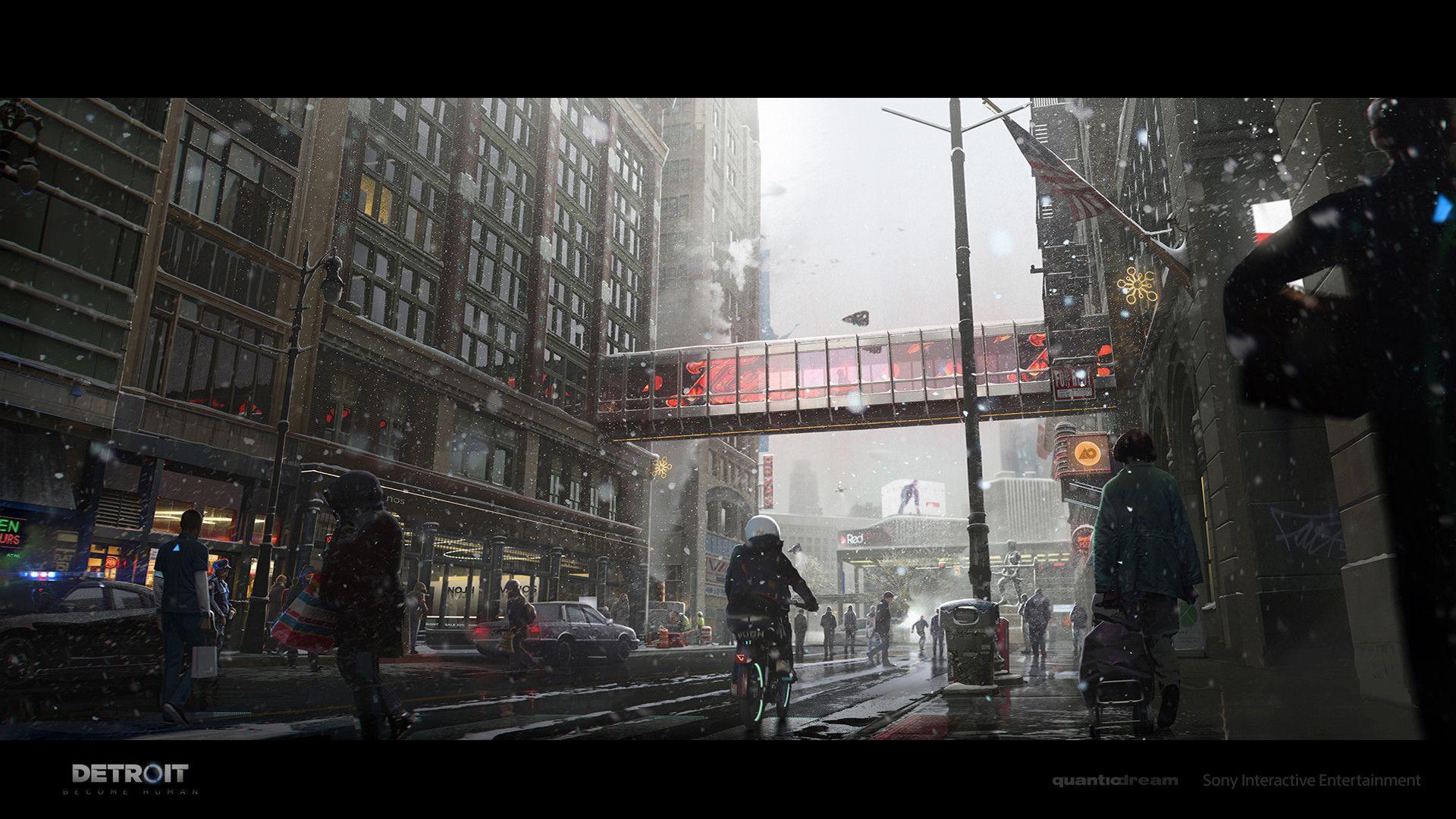 Artstation Detroit Become Human Street Life Concept