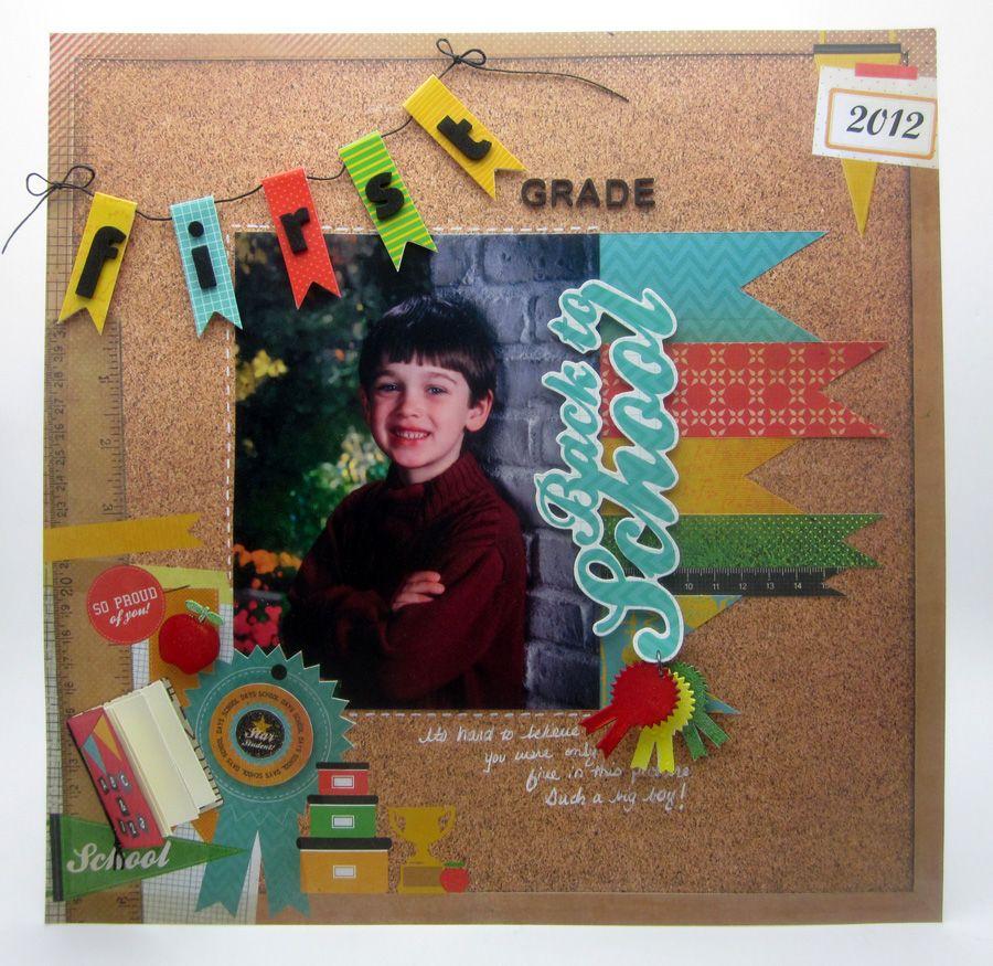 Scrapbook ideas school - Kaisercraft First Class Scrapbook Layout