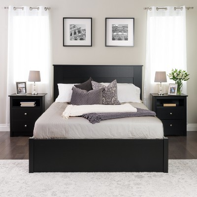Prepac Queen Flat Panel Headboard Black Room Ideas Bedroom