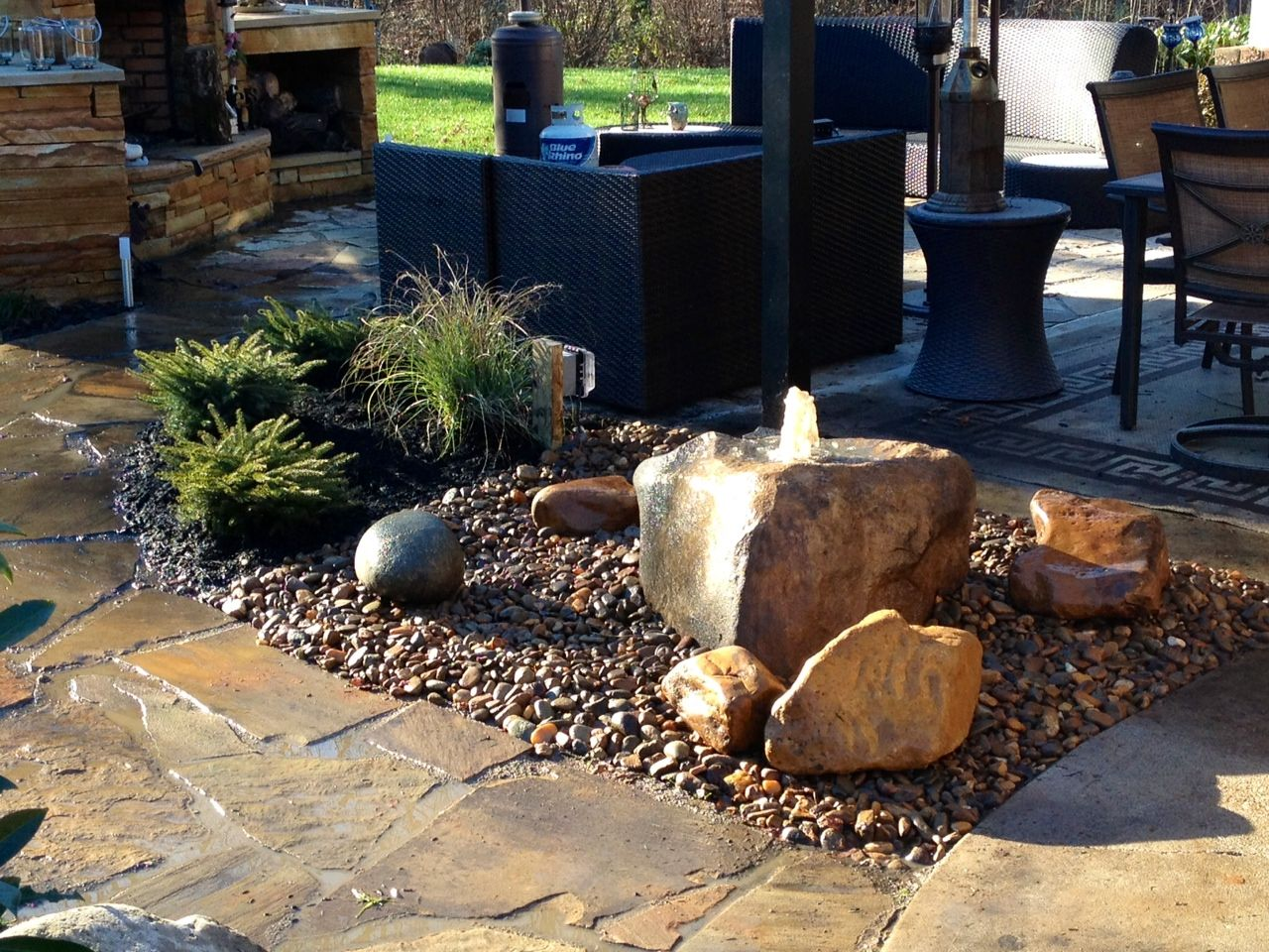 Bubbling Boulder Water Feature Ideal For A Small Area