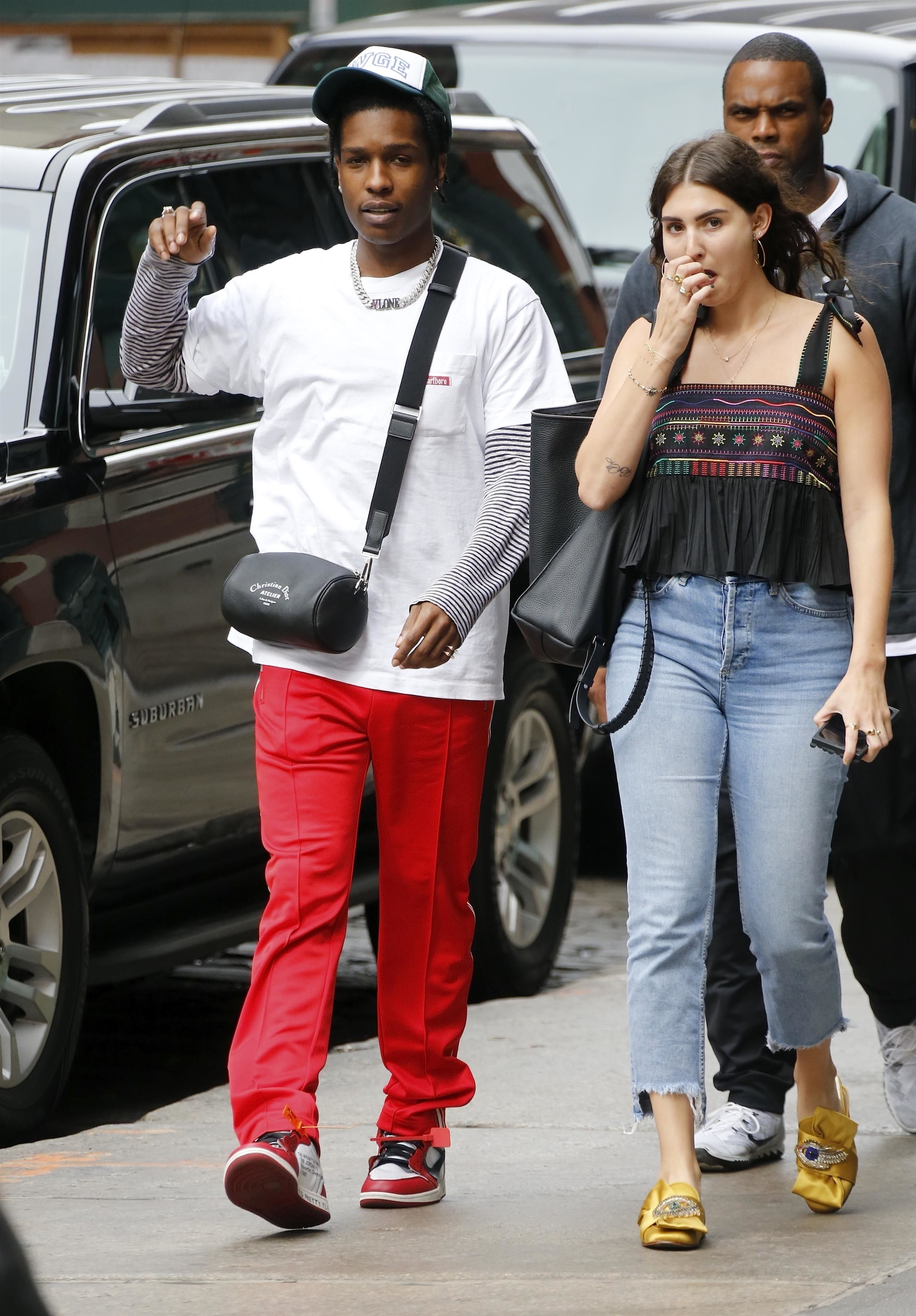 f9d05644d54b ASAP Rocky wearing Dior Atelier Crossbody bag , Nike Off-White x Air Jordan  1