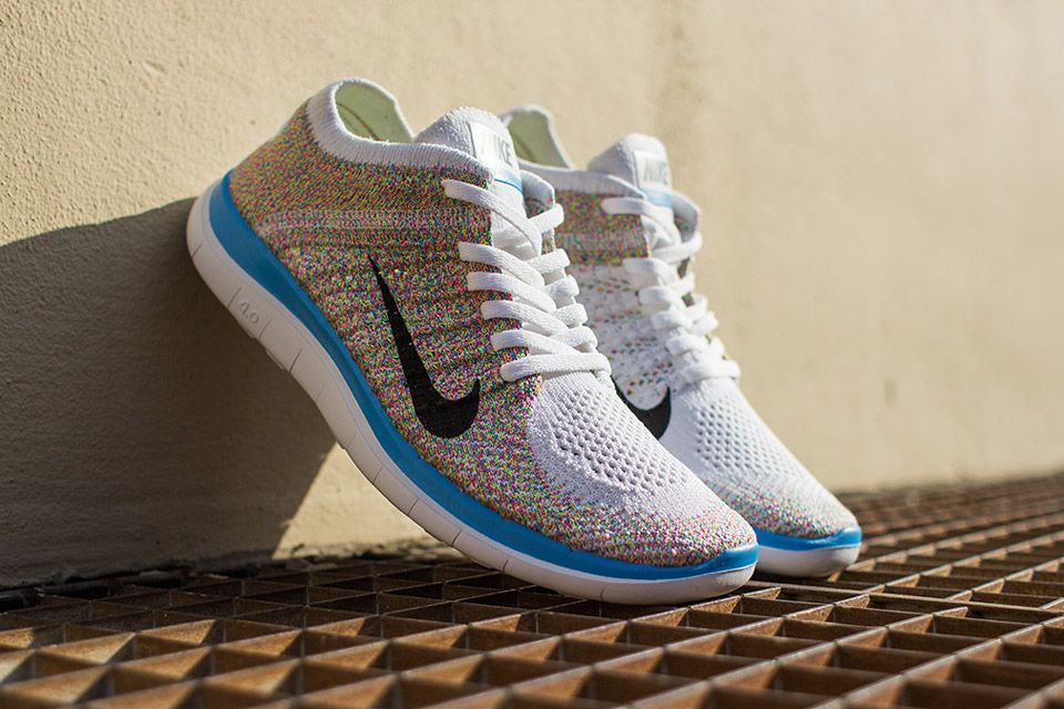 nike free flyknit 4.0 multicolor white and grey