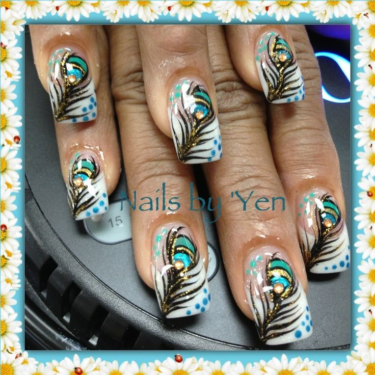 Peacock feathers over french nails and white by Yen. -  B388e237ecd07441bdea291b2428f17c.jpg (736 - Nails By Design Graham Reid