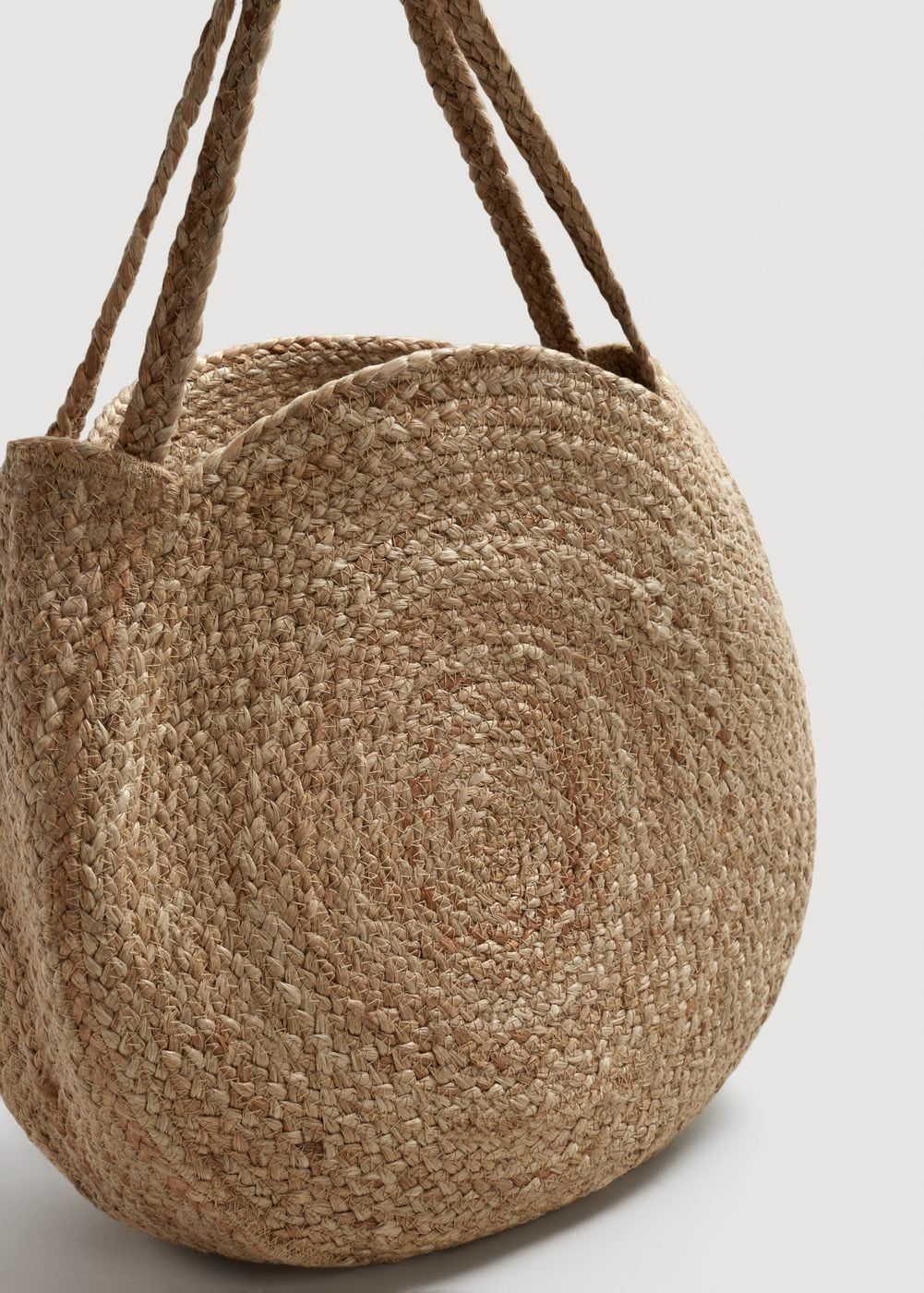 medium resolution of large jute fabric double handles decorative seams straw bag bags fashion handbags