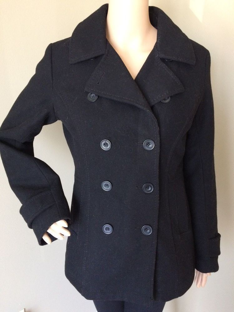 d07dd005553a44 H M Women s Wool Blend MIlitary Peacoat Double Breasted Black Trench Coat  Size 8  HM  Peacoat