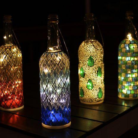 Wine Bottle Mosaic Lanterns (Set of 4