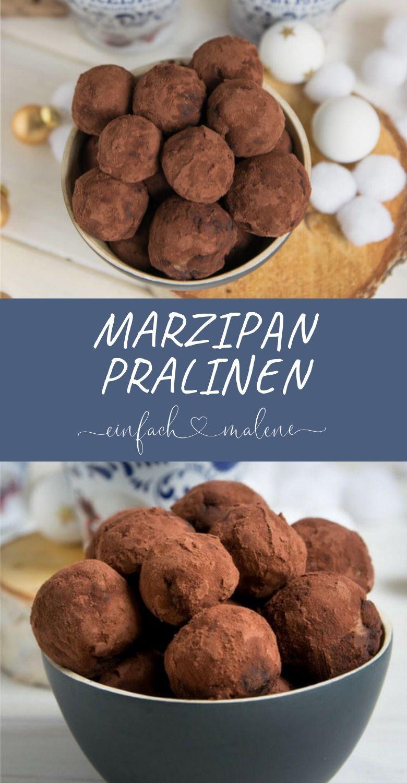 Marzipan Amarena Pralinen mit nur 5 Zutaten ganz einfach selber machen. Diese kleinen Kugeln haben es in sich! Denn die Amarena Kirschen werden von Nougat und Marzipan umschlossen und sehen wunderschön aus in ihrem Kakao-Mantel. #weihnachtsgeschenkeselbermachen