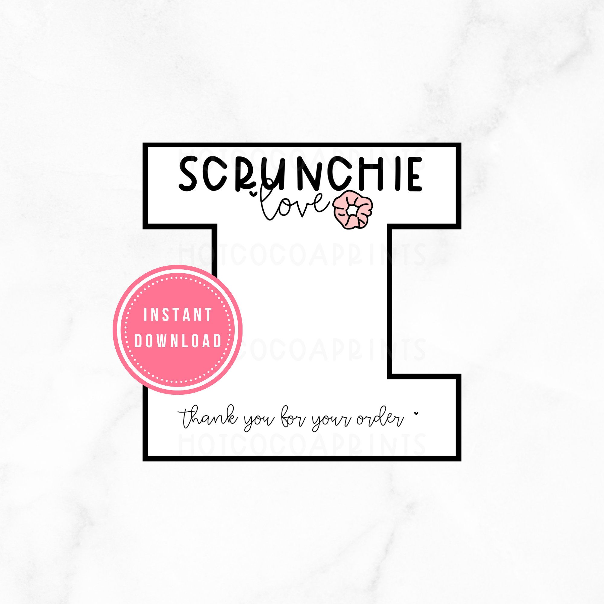 Hair Accessory Display Card Printable Scruncie Template Etsy Scrunchies Tag Template Business Thank You Cards