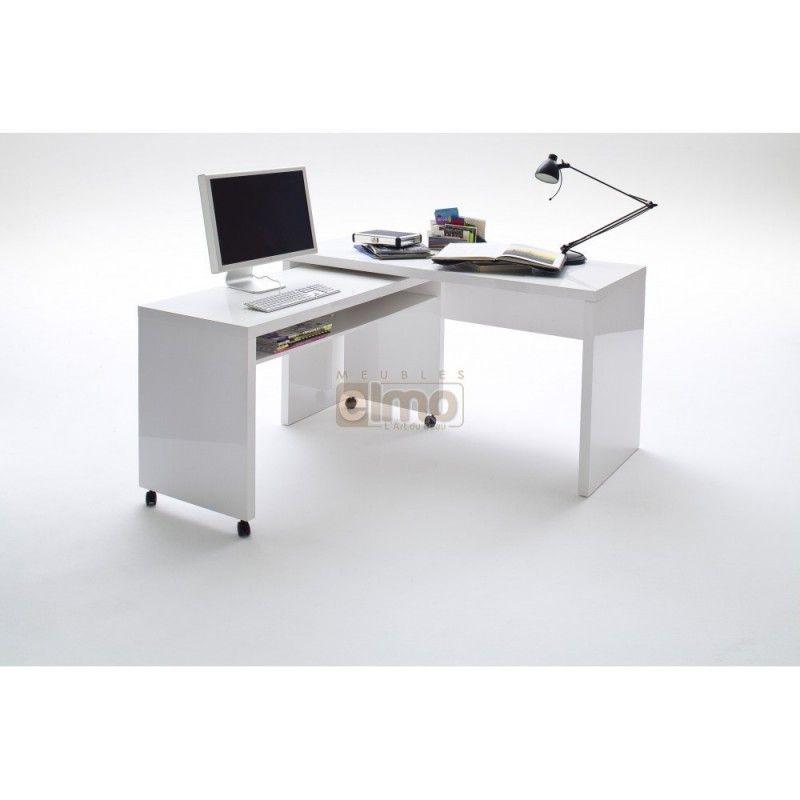 Bureau modulable gain de place à deux plateaux laque blanc brillant