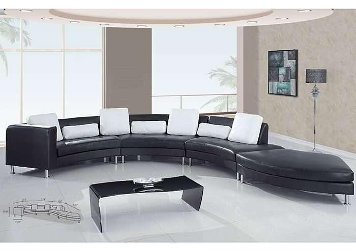 Jerusalem Furniture | Philadelphia, PA | Furnish 123 Black Leather 4 Pc  Sectional U0026 White