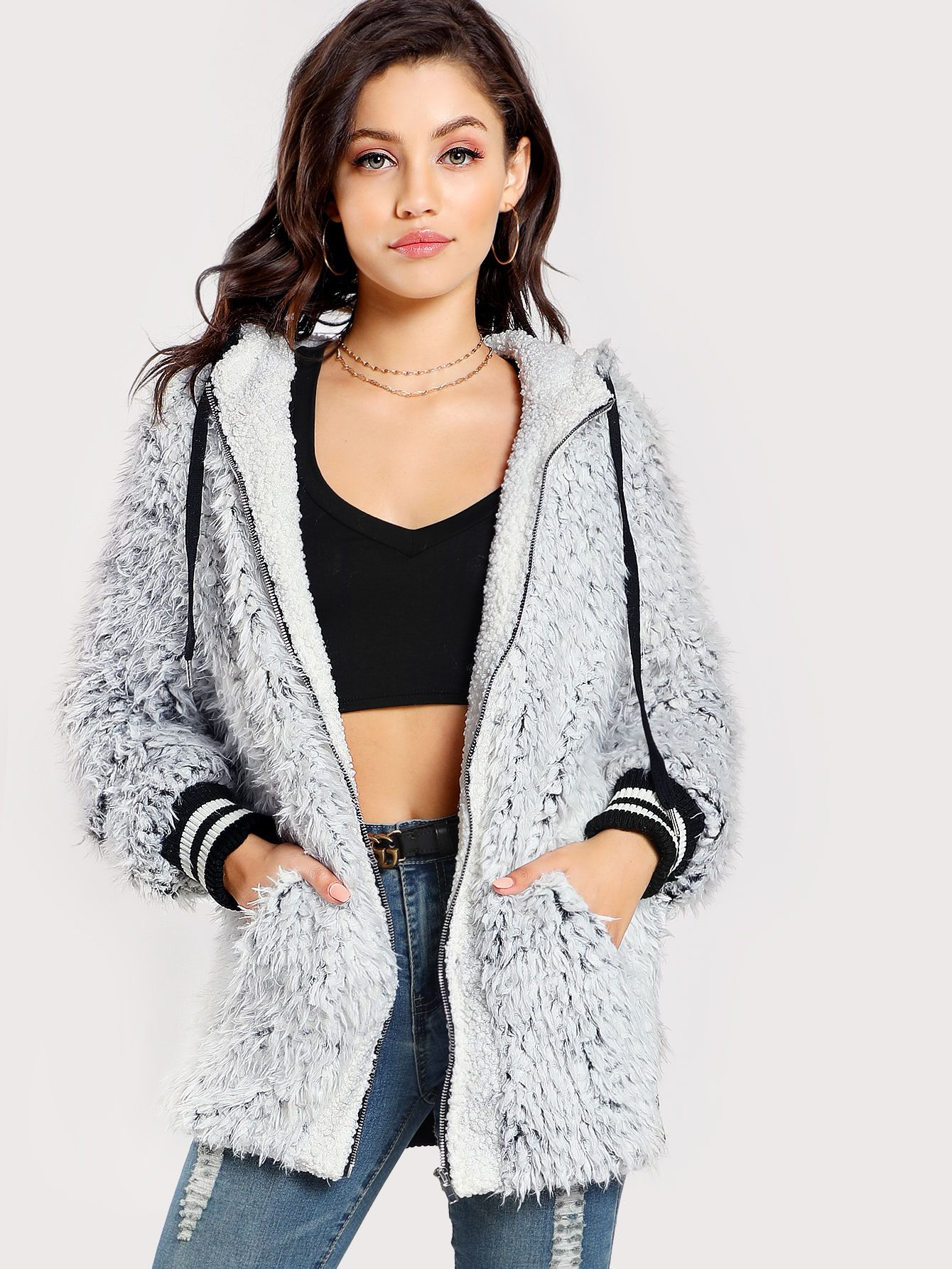 e6cbe0ac9 Shop Striped Trim Faux Fur Hoodie Jacket online. SheIn offers Striped Trim Faux  Fur Hoodie Jacket & more to fit your fashionable needs.