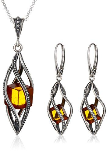 Millennium Collection Baltic Honey Amber and Sterling Silver Leverback Earrings Necklace Set 18 >>> For more information, visit image link.