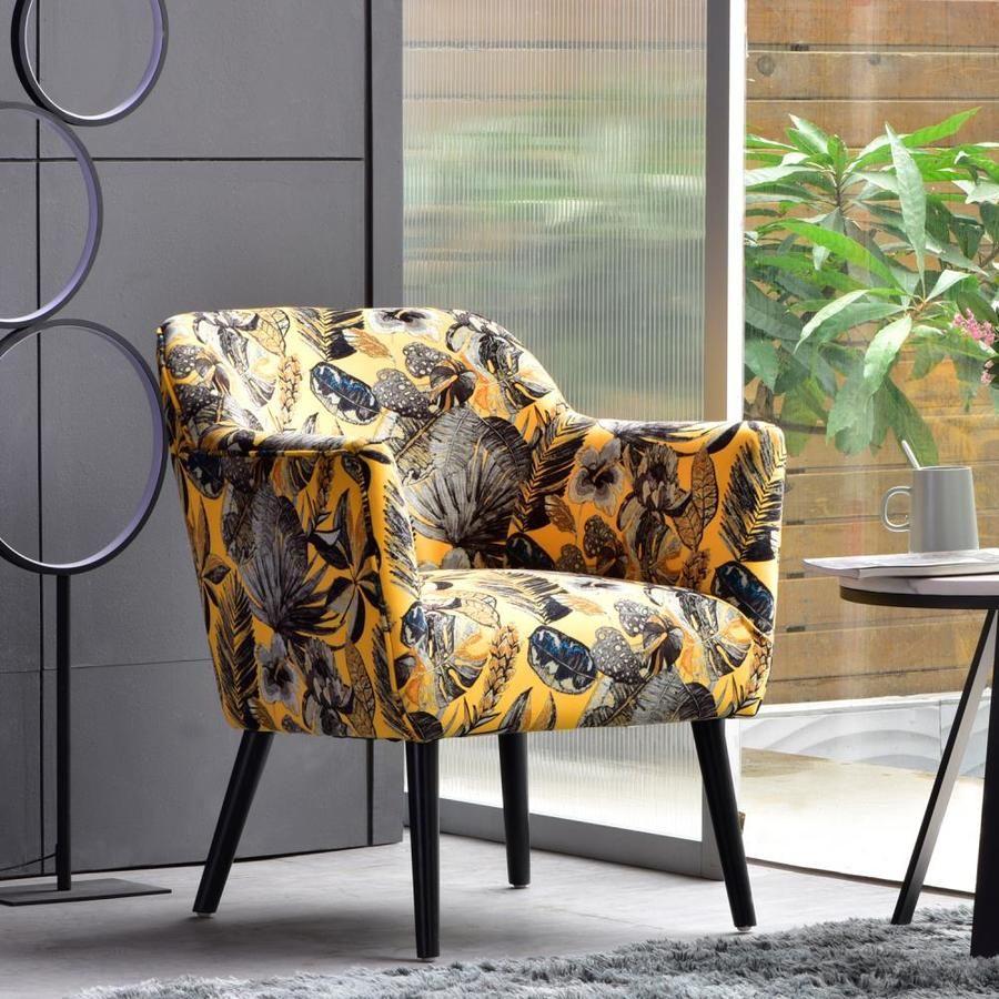 ovios ablaze modern yellow velvet accent chair lowes