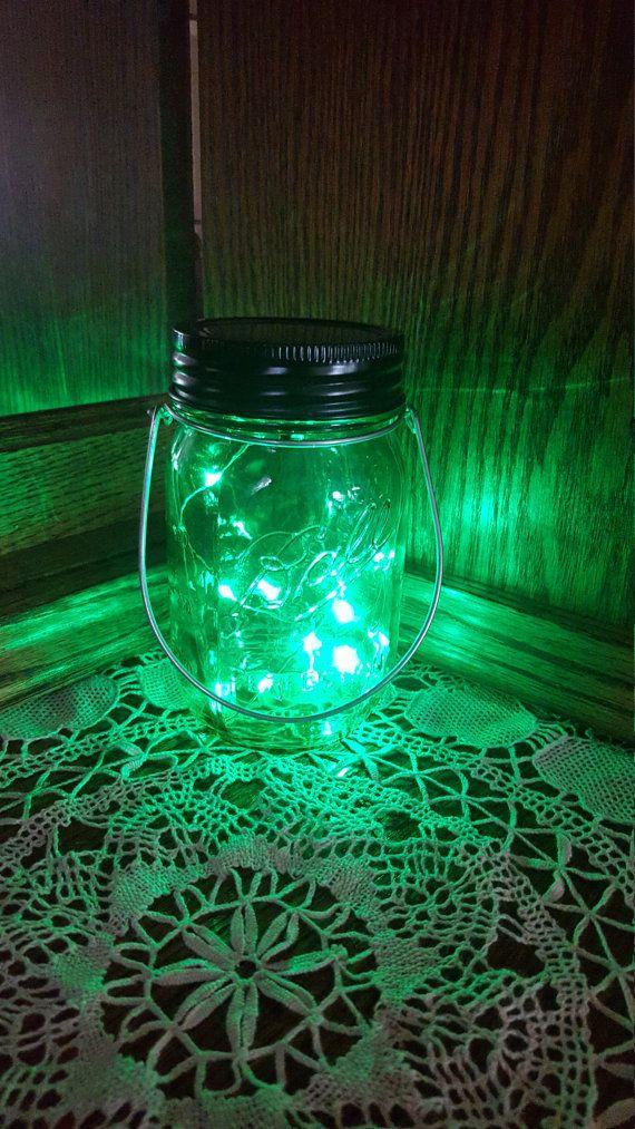 Hanging Mason Jar Solar Light Set Of 2 Green Jars With Green Fairy Lights Solar Mason Jar Lantern Patio Garden Solar Mason Jars Mason Jar Solar Lights Hanging Mason Jars