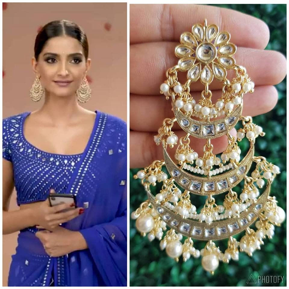 Gold Tone Indo Western Earrings Indian Jewelry Indian Bollywood Jewellery
