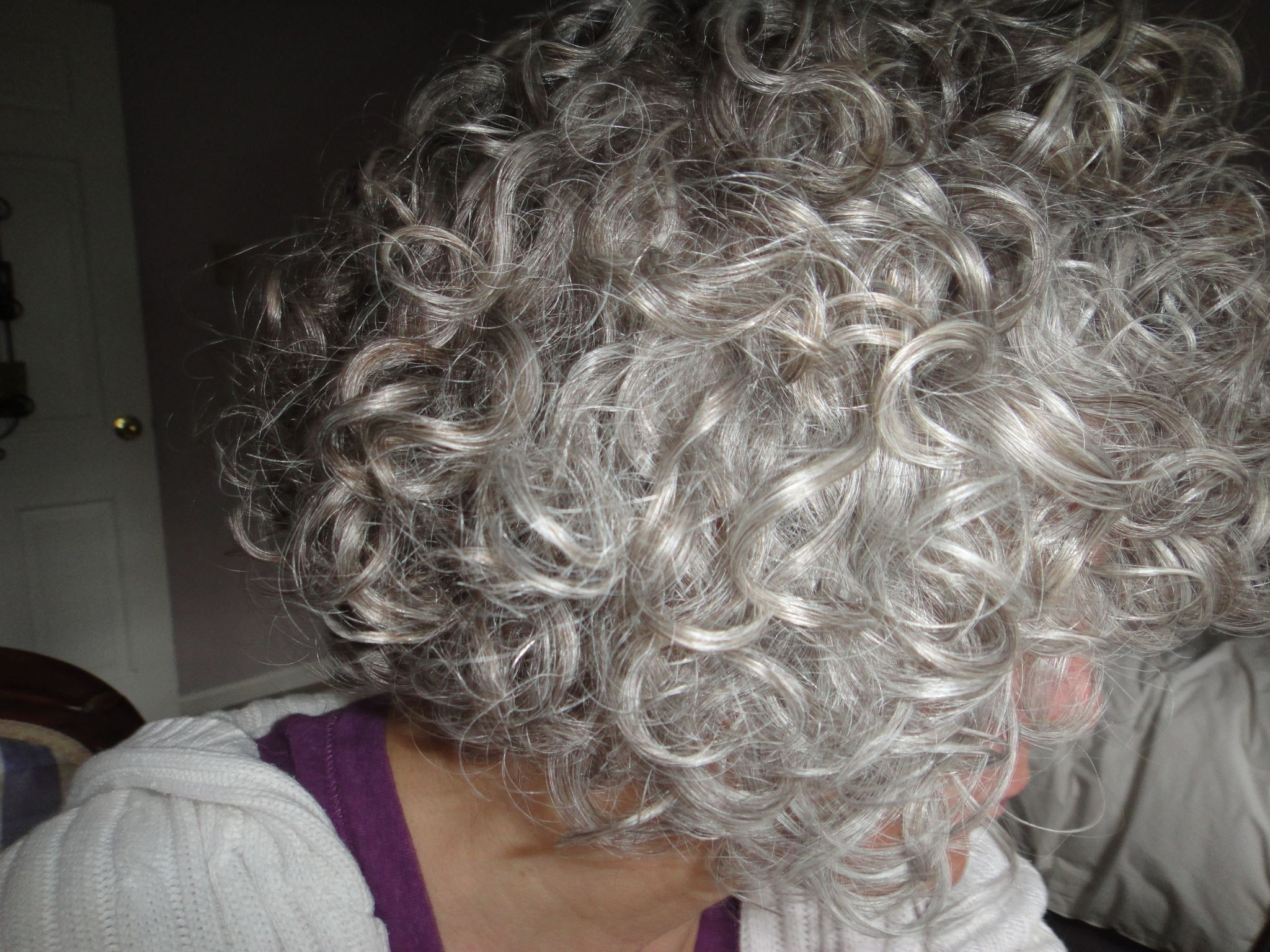 the only thing better than gray hair is curly gray hair! me