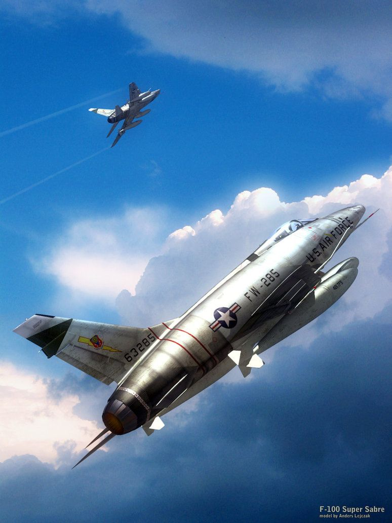 "/""The Hun/"" by Mark Karvon F-100 Super Sabre Giclee Print Aviation Art Prints"