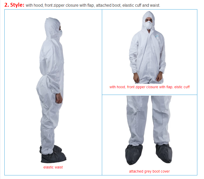 Disposable Elastic Wrist Bootie and Hood Microporous