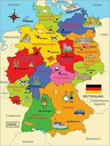 Karte Bundesländer.Premium Poster Bundesländer Für Kinder Reiseziele Deutschland