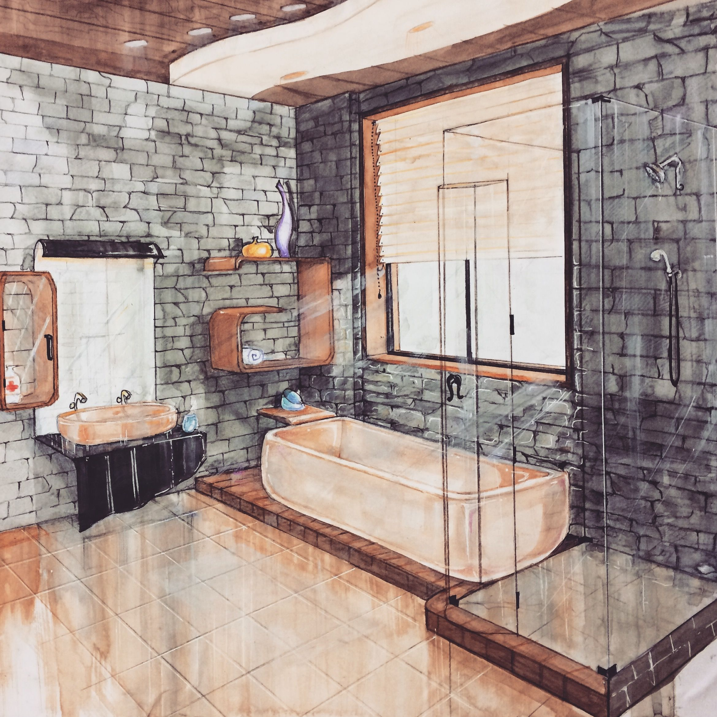 my watercolour perspective view of designer bathroom watercolour