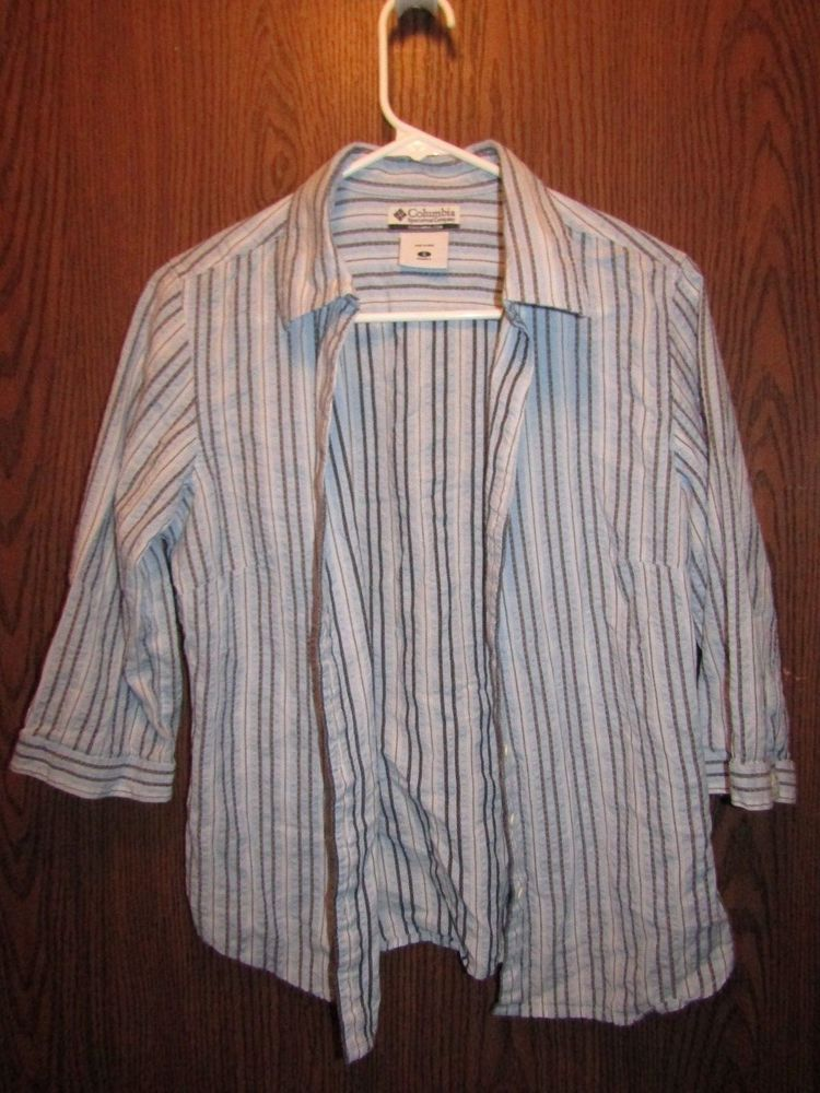 Sm. Columbia Womens Light Blue Striped 3 4 Sleeve Button Up Cotton Shirt  Wrinkle 319cc0cbd