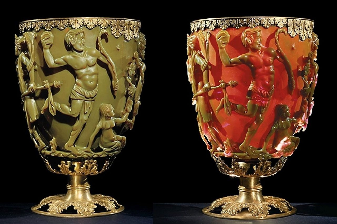 The Lycurgus Cup is a beautiful 1,600 year old goblet crafted from glass by the Ancient Romans.  The cup depicts the punishment of Lycurgus, a mythical king who was ensnared in vines for committing evil acts against the Greek god Dionysus.  When exposed to light, the cup turns from jade green into a bright, glowing red color.