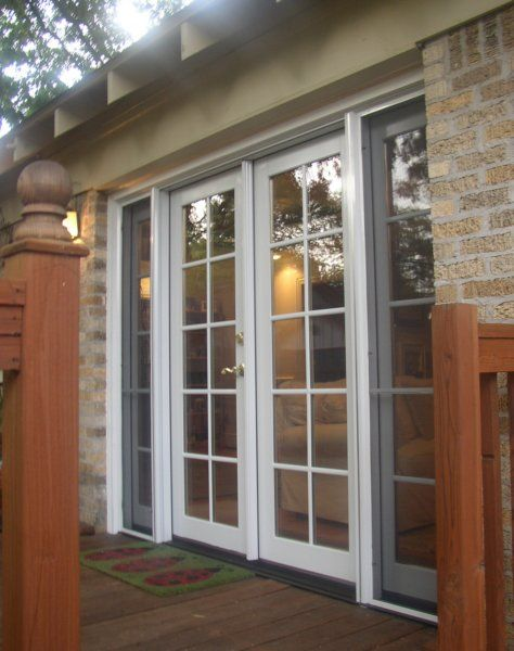 Classic Clad French Door With Operating Sidelites And Simulated Divided Lite Grids Residential Exterior Doors Sliding French Doors Exterior Doors