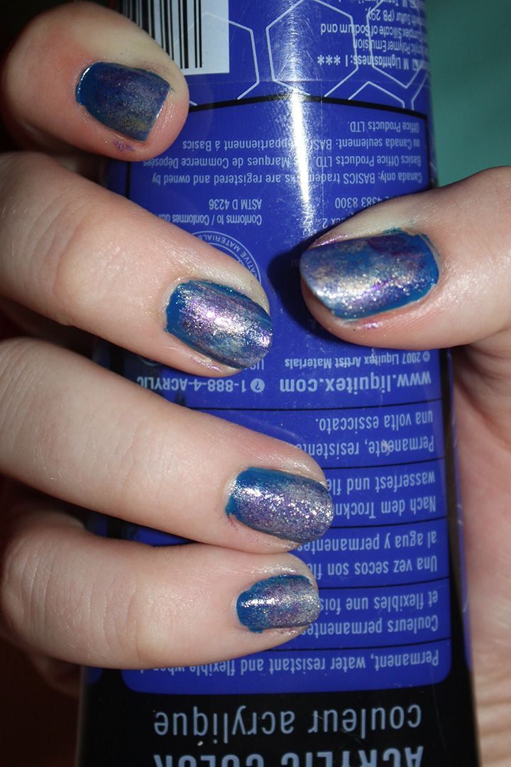 Galaxy nails! blue for the base then i daubed on the other colors ...