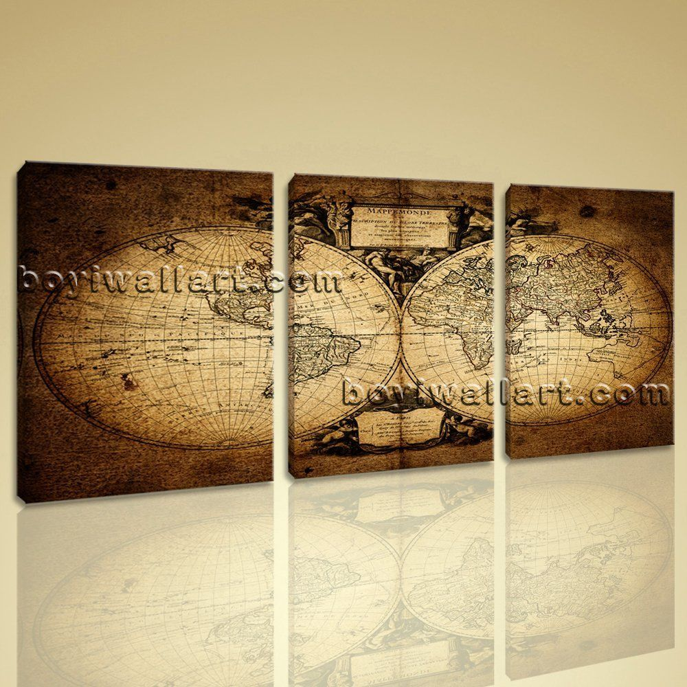 Large Vintage Map Other Retro Wall Art Print Living Room Triptych ...
