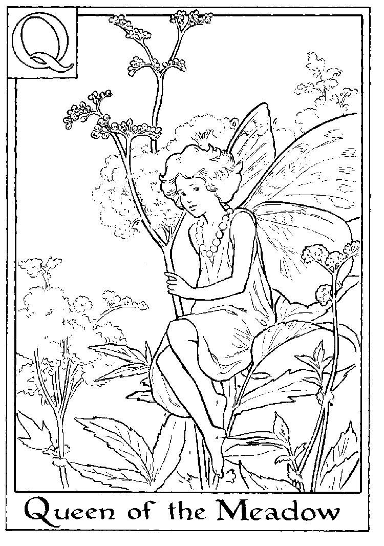 Letter Q For Queen Of The Meadow Flower Fairy Coloring Page Fairy Coloring Fairy Coloring Pages Fairy Coloring Book