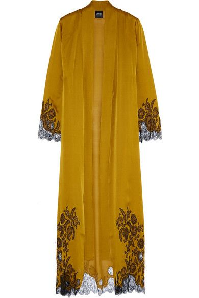 Chantilly Lace-trimmed Silk-satin Robe - Mustard Carine Gilson Free Shipping 2018 100% Authentic Online Hot Sale Cheap Online tnEGrpBtg5