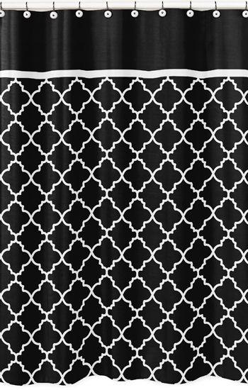 Modern Black And White Trellis Kids Bathroom Fabric Bath Shower Curtain By Sweet Jojo Designs Black Shower Curtains Curtains Shower Curtain