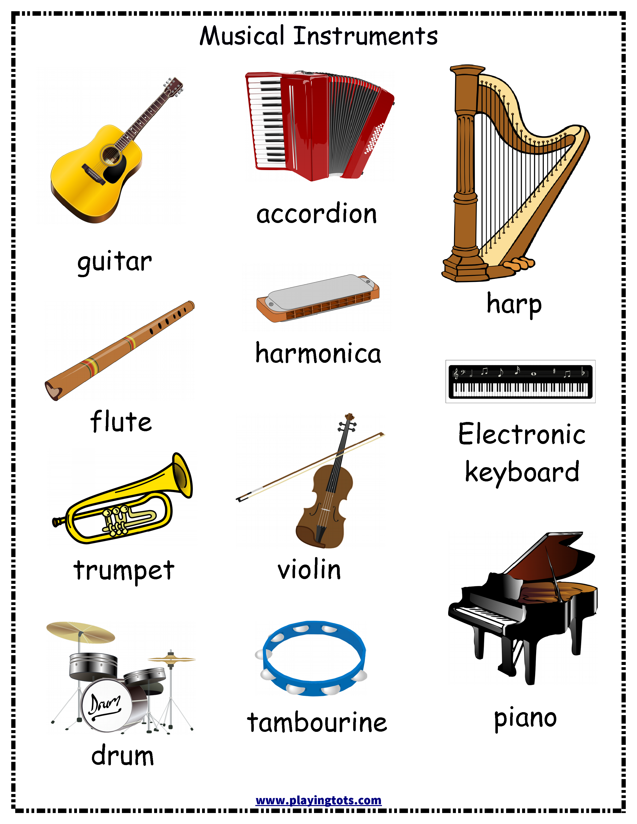 photo regarding Printable Pictures of Musical Instruments called cost-free printable musical tools chart Homeschool