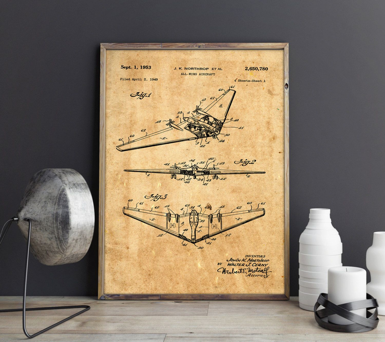 All Wing Airplane Poster, Airplane Art Print, Northrop, Airplane Art ...