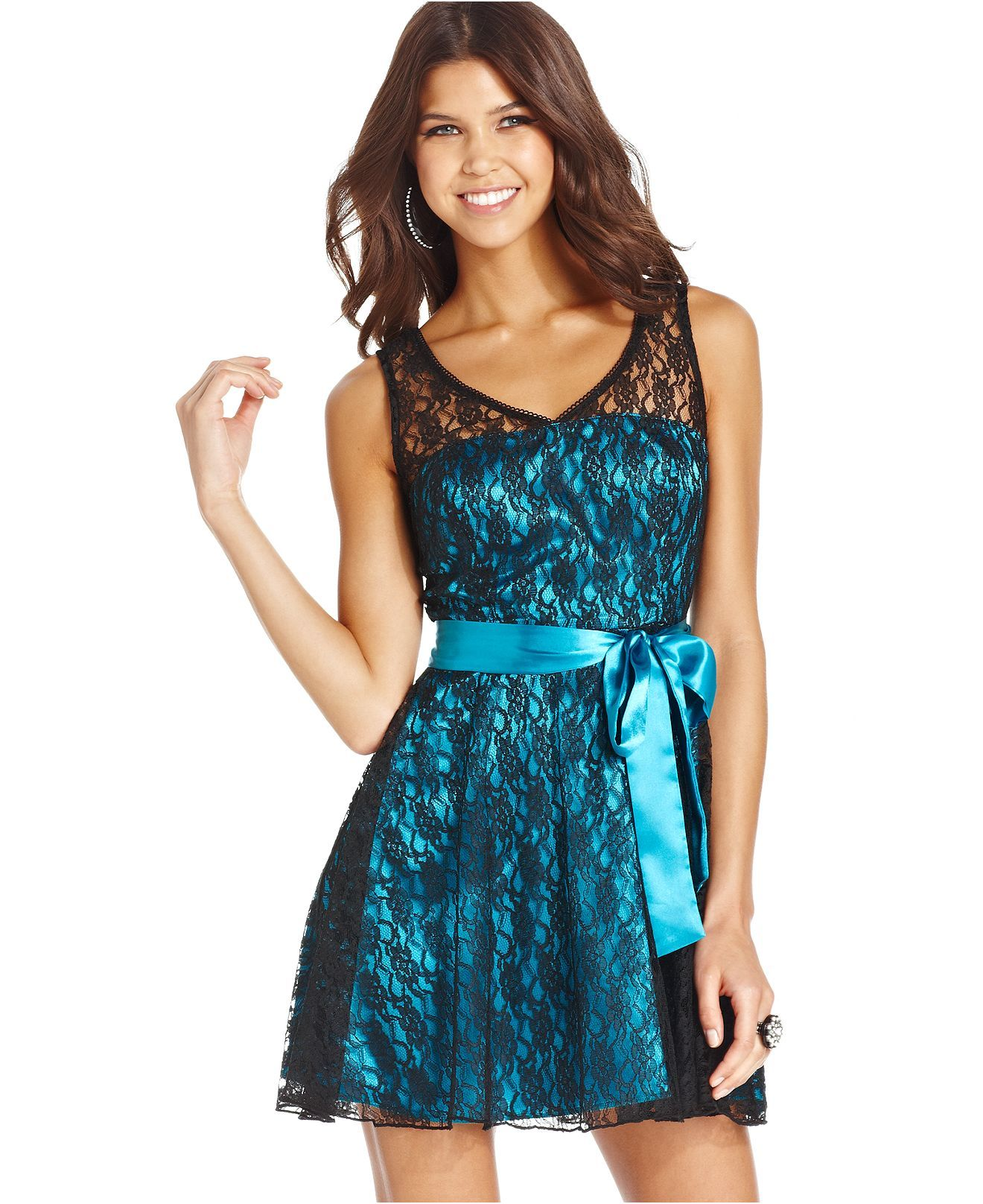 Trixxi Juniors Dress, Sleeveless Lace Belted A-Line - Juniors ...