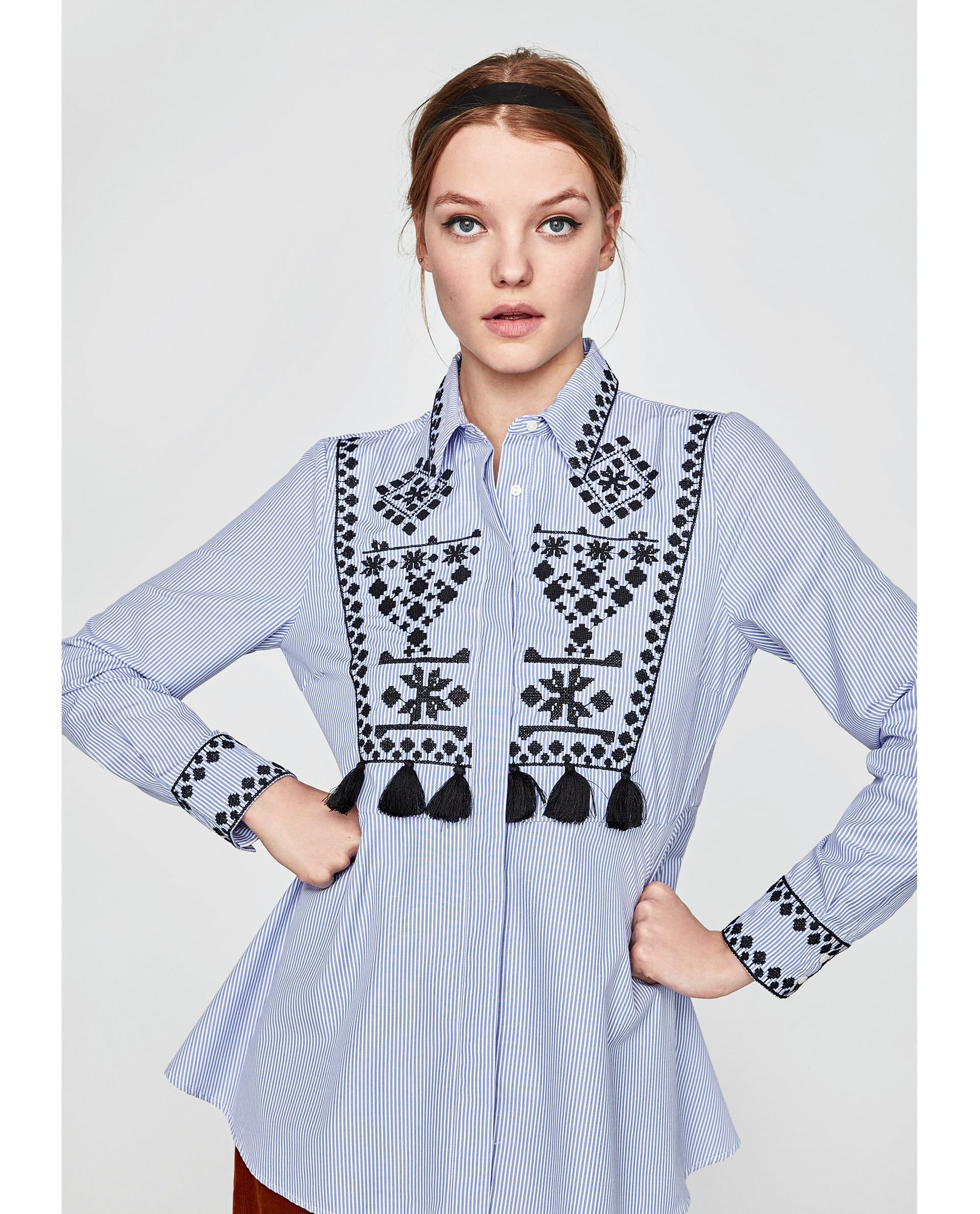 3da3a127 STRIPED SHIRT WITH EMBROIDERY AND TASSELS from Zara #zara #newarrivals  #fashion #spring #summer #outfits #trending #editorial #maternity #tassel  #blouses ...