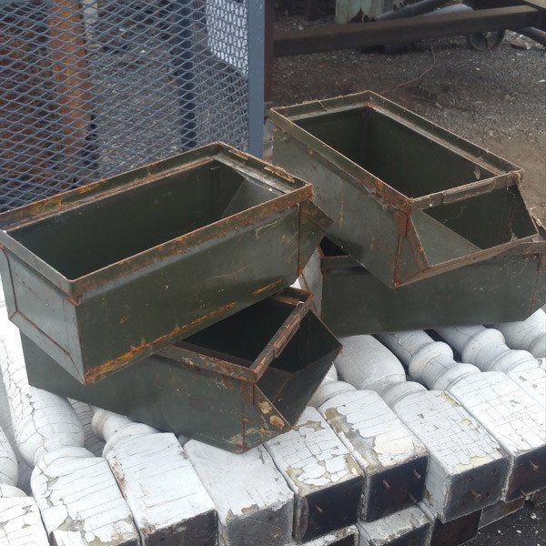 Our Antique Factory Bin Is A Vintage Metal Storage Bin That Was Once Used In The 1950 S In Large Factories Vintage Industrial Storage Metal Storage Bins Bins