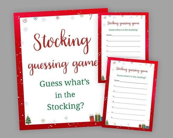 Christmas Party Games, Stocking Guessing Game, Guess What\u0027s in the