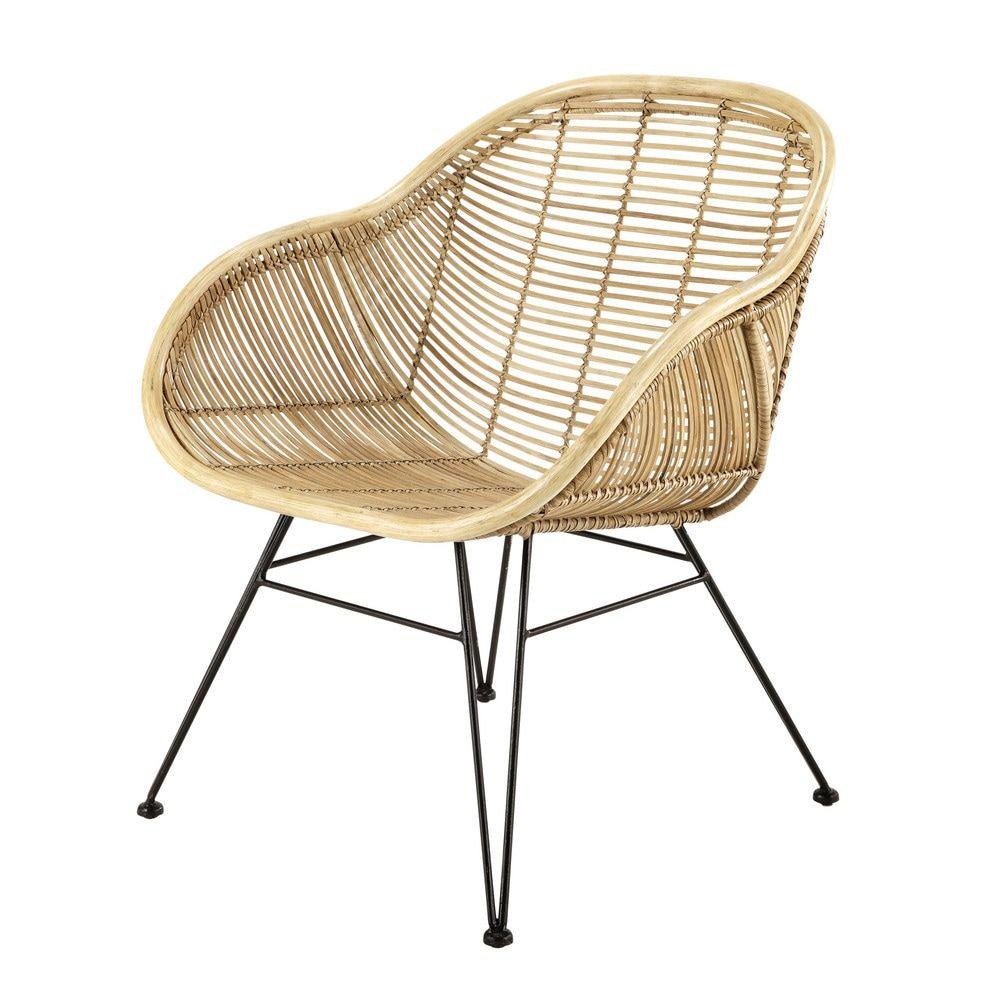 Maison Du Monde Fauteuil Rotin rattan armchair with black metal legs in 2020 | rattan