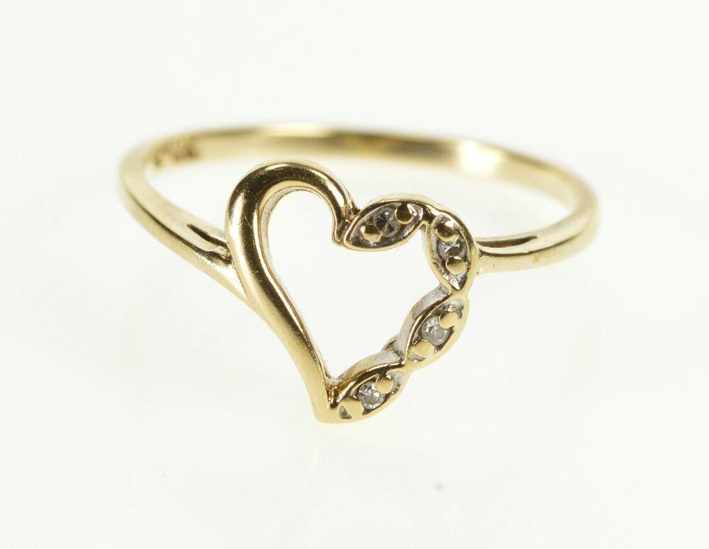 10k Diamond Inset Heart Anniversary Gift Promise Ring Size 6