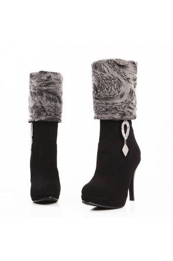 $33.99 Black Velvet Upper Rhinestone Pendant Decor Boots
